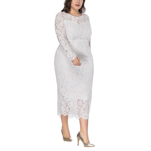 Plus-size solid color long sleeved lace dress