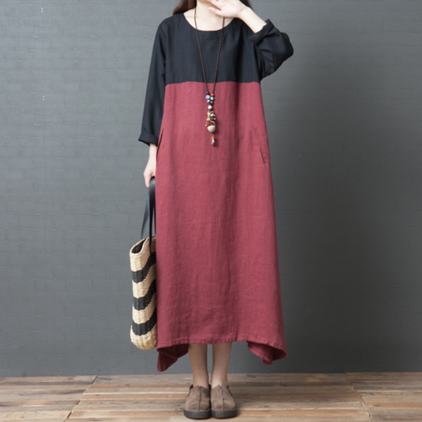 Loose lage size fashionable contrasting color cotton hemp dress