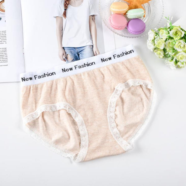Letter waist breathable lace edge color cotton waist Panty