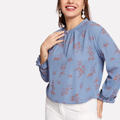 Neckline Open Buckle Loose Chiffon Print Large Size T-Shirt
