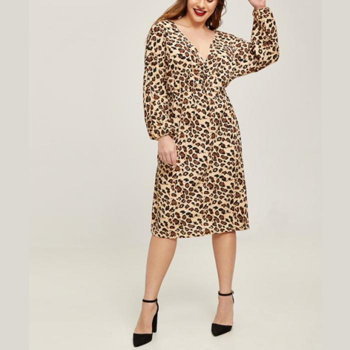 Plus-Size Sexy Deep V Collar Leopard Print Long Sleeves Dress
