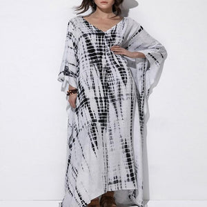 V-Neck Loose Casual Print Long Dress