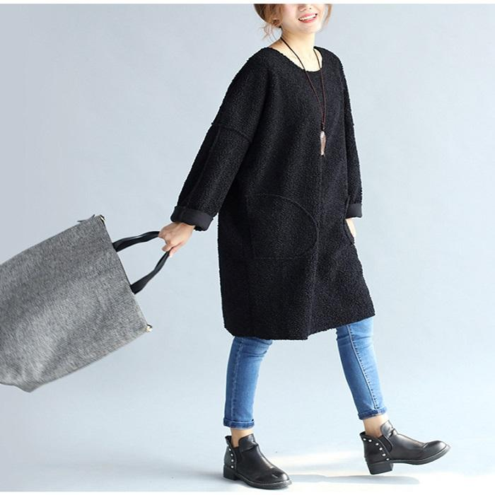 Lamb Wool Sheep Literary Comfortable Large Size Loose Shirt Dress