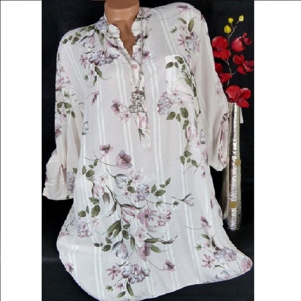 Printed V-Neck Pullable Long Sleeve Ladies Shirt