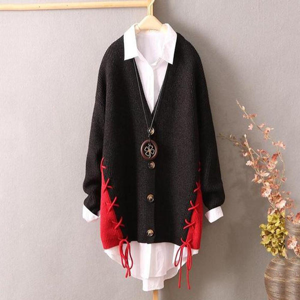 Literary Large Size Loose Long Knit Cardigan