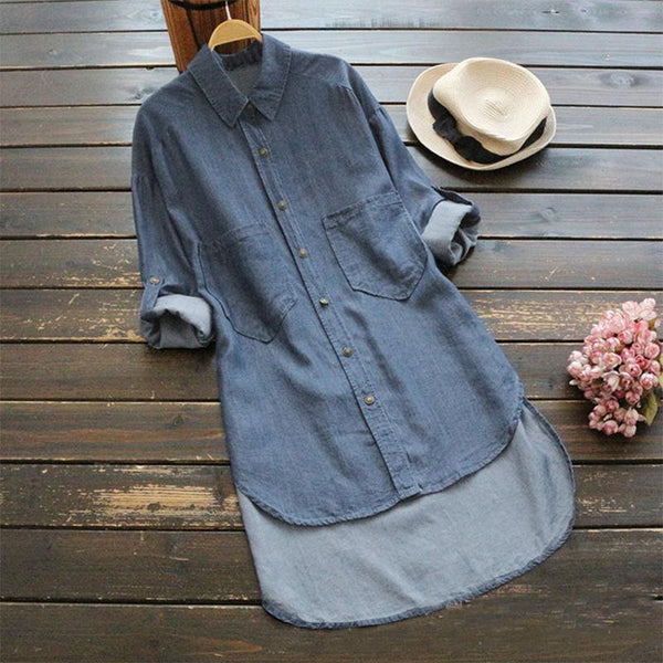 Fashionable Pure Color Long-Sleeved Jeans Shirt