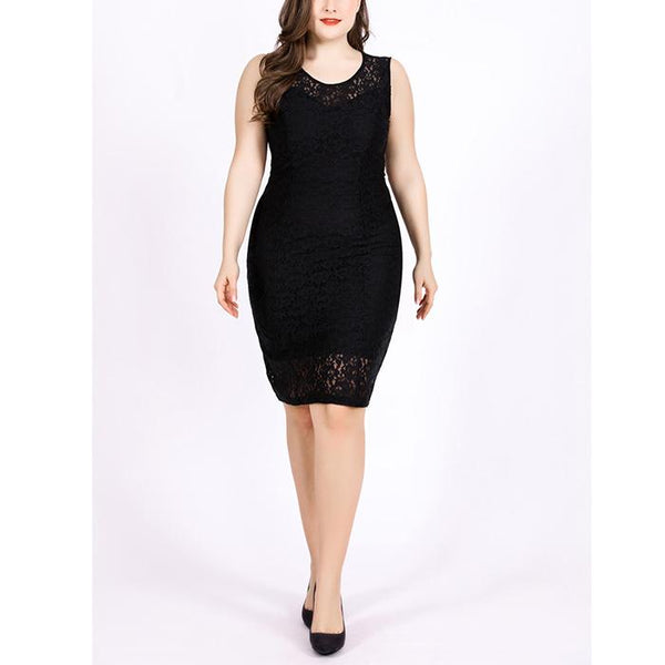 Plus-size pure color sexy sleeveless crocheted hollowing out mini dress
