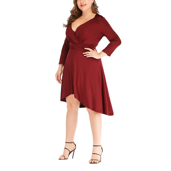 Plus-Size Pure Color V Neck Fold Dress