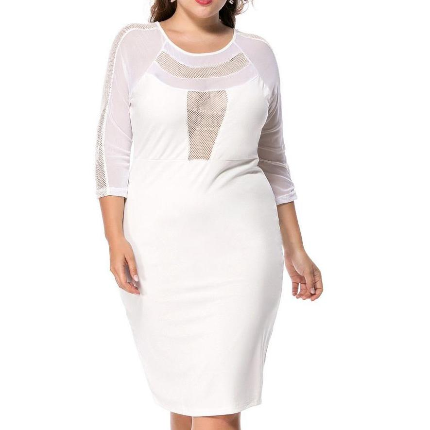 Plus Size Bodycon Dress See-Through Solid Color Round Neck