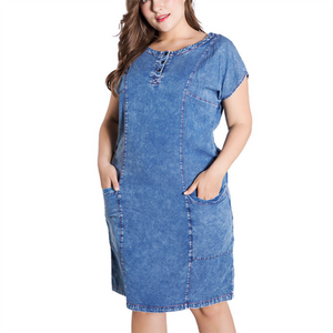 Plus-size pure color short sleeved round collar denim dress