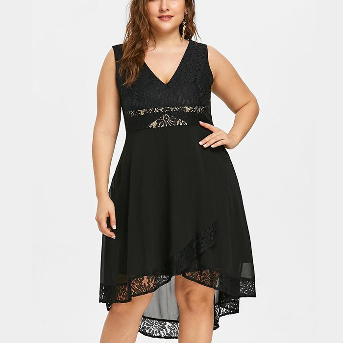 Plus-Size Chiffon Pure Color Lace Splicing Sleeveless V-Neck Dress