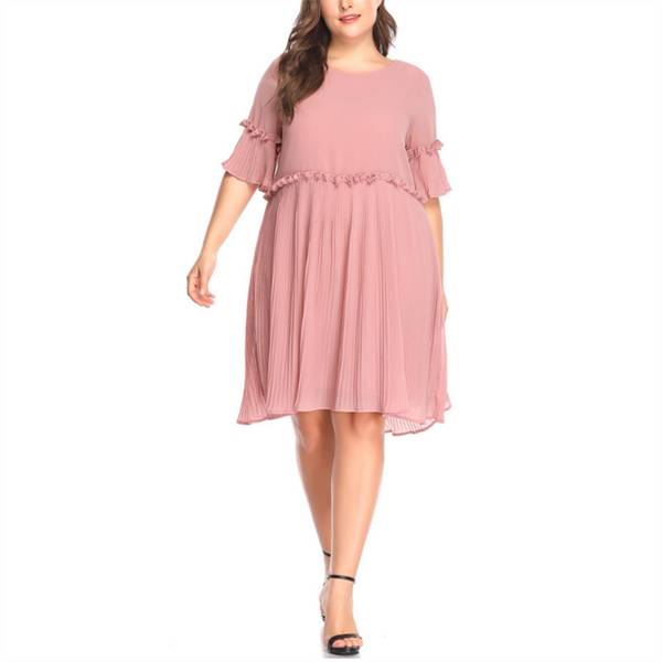 Plus-size solid color pleated splicing mini dress