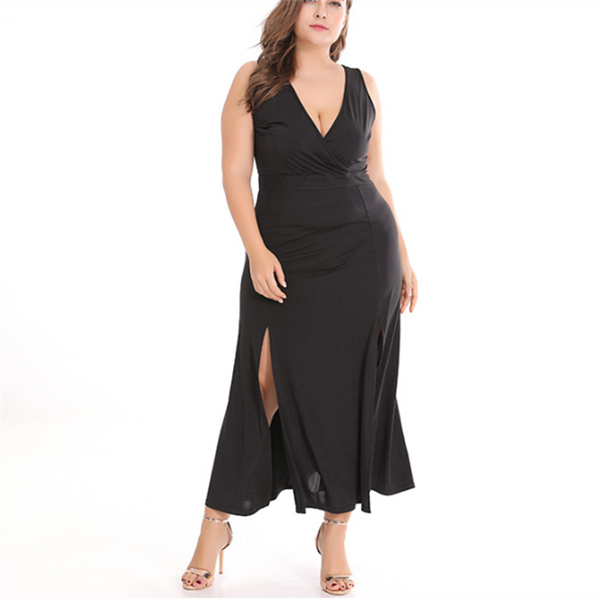 Plus-size solid color knit sleeveless sexy dress