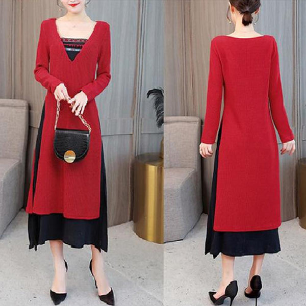 Elegant Folk Tufted Thick Slim Slim Long Sleeve Dress