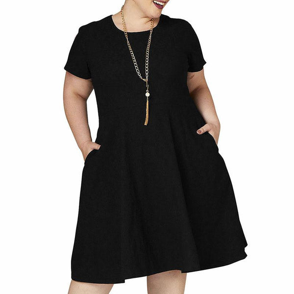Large Size Loose Round Collar Casual Medium Long A Dress