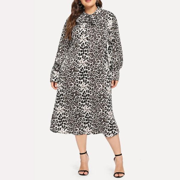 Plus-size leopard print bow long sleeves loose dress