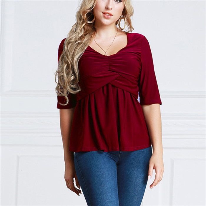 Plus-Size Pure Color Middle Sleeve Sexy T-Shirt
