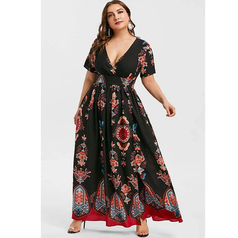 CHICWESTYLE Printed Maxi Split Bohemian Plus Size Dresses