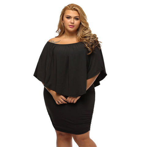 A| CHICWESTYLE Plus Size Multiple Dressing Layered Black Mini Poncho Dress