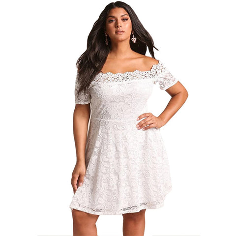 White Plus Size Lace Off Shoulder Flared Dress