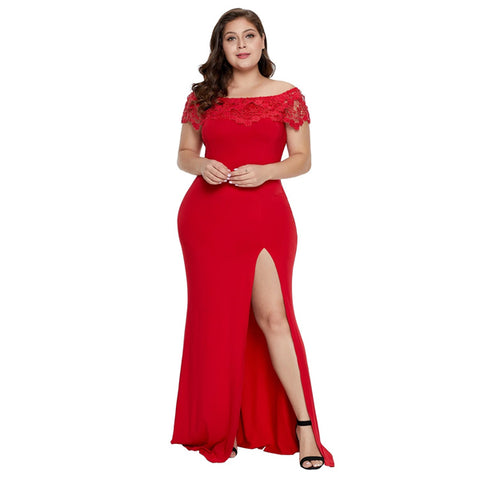 Z| CHICWESTYLE Red Off Shoulder Plus Size Prom Dress