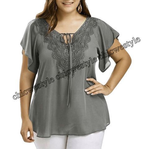 Plus Size Summer Fashion Patchwork Lace up Blouse Ladies Tops Loose Top Female Women Half Sleeve