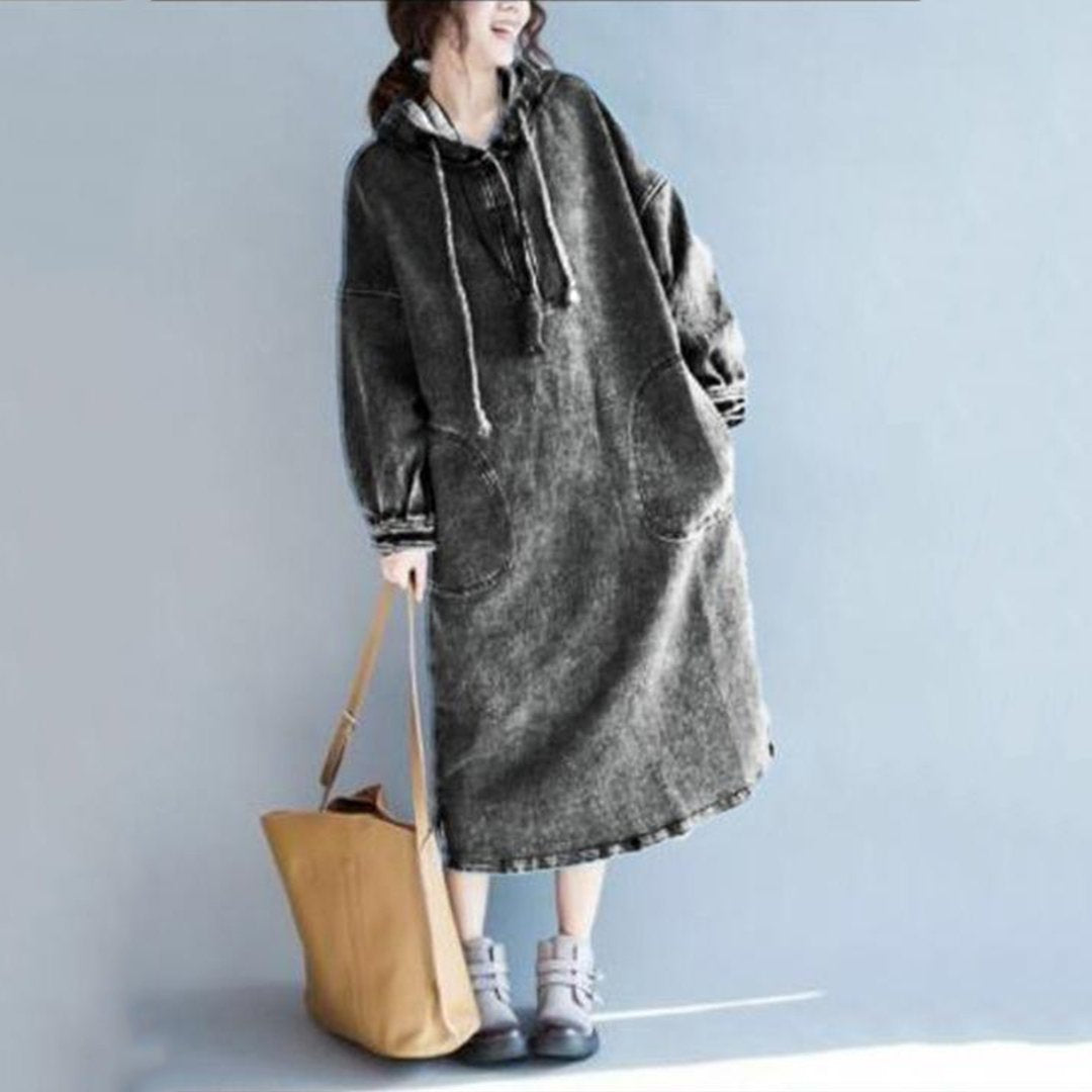 Loose Hooded Trench Coat Denim Dress Long Sleeves Long Section