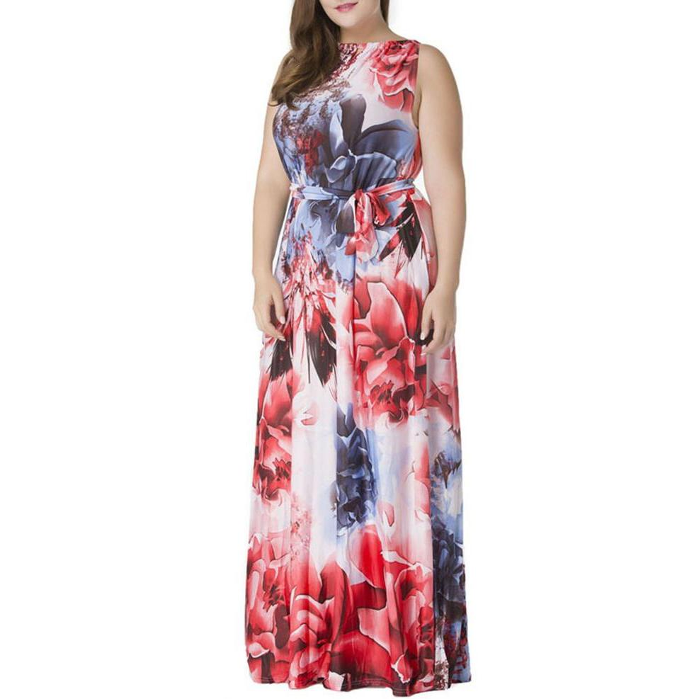 Plus Size Maxi Dress Floral Print Sleeveless Boat Neck