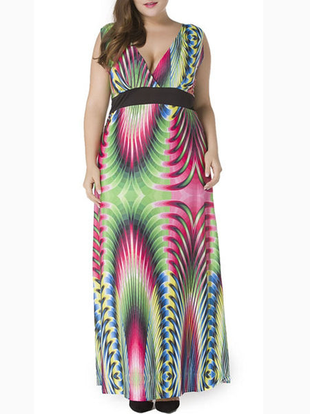 Deep V-Neck  Plus Size  Maxi Dress In Abstract Print