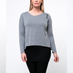 Color Block Decorative Button Round Neck Plus Size T-Shirt