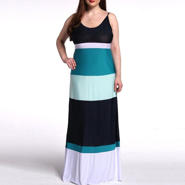 Spaghetti Strap  Plus Size Maxi Dress In Colorblock Striped