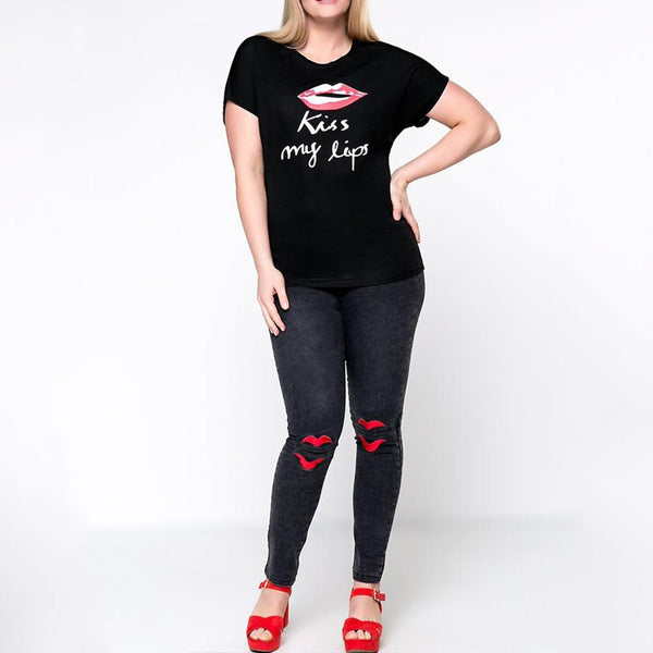 Kiss My Lips Round Neck Plus Size T-Shirt