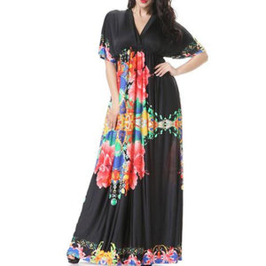 V-Neck Empire Swing Floral Awesome Plus Size Maxi Dress