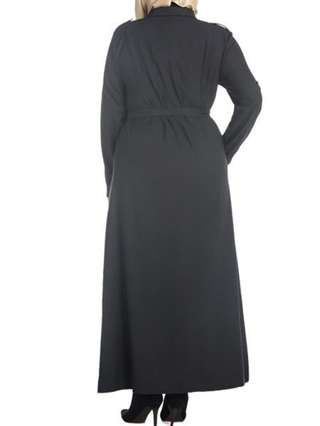 Solid Single Breasted Plus Size Maxi Shirt Dress
