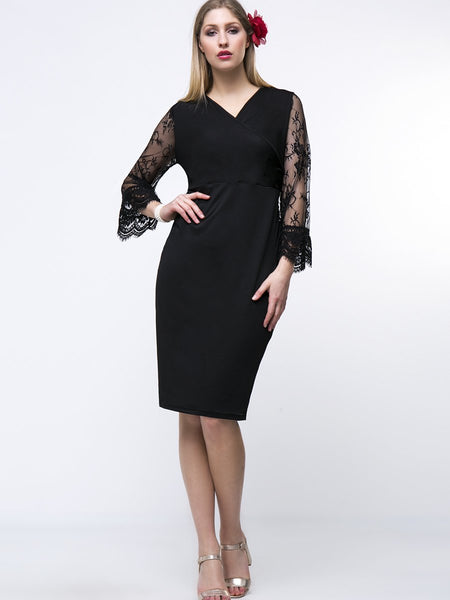 Bell Sleeve V-Neck Hollow Out Solid Lace Plus Size Bodycon Dress