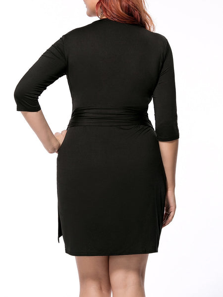 Plus Size Bodycon Dress Deep V-Neck Solid Tulip