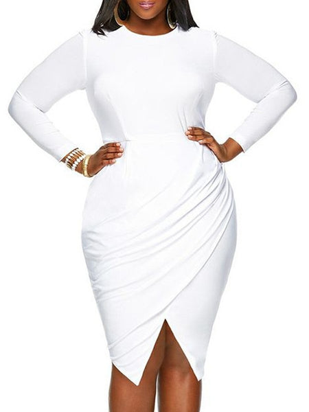Round Neck Plain Plus Size Bodycon Dress