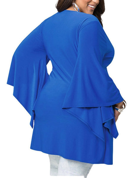 Deep V-Neck Plain Bell Sleeve Long Sleeve Plus Size Romper Blouse
