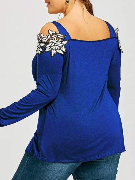 Plus Size Blouse Spaghetti Strap Lace Long Sleeve