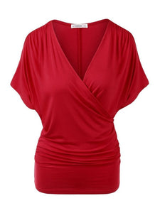 Plus Size Blouse Deep V-Neck Short Sleeve