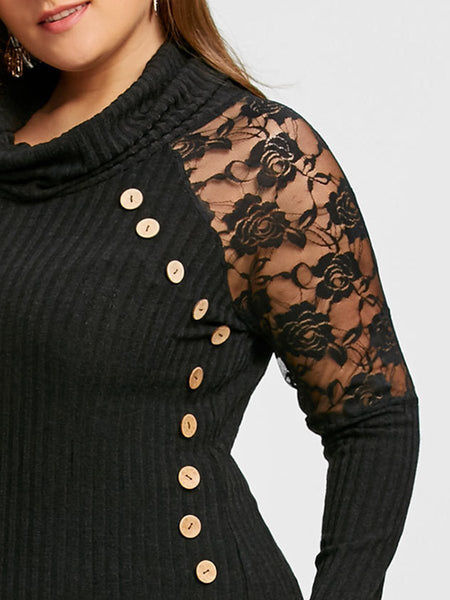 Plus Size Blouse Cowl Neck See-Through Long Sleeve Solid Color