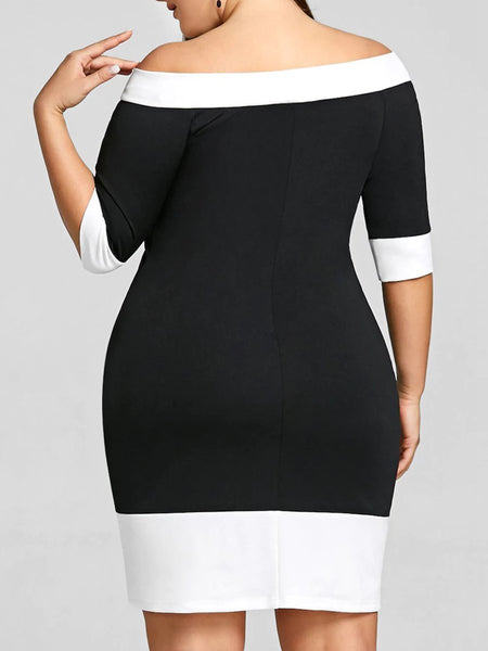 Off Shoulder Contrast Plus Size Bodycon Dresses
