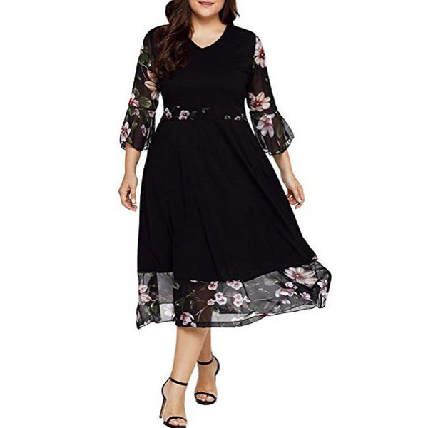 V-Neck  Flounce  Printed Plus Size Midi Dresses Black Floral
