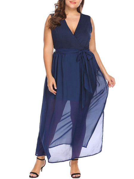 Surplice  See-Through  Belt  Plain Plus Size Midi & Maxi Dresses