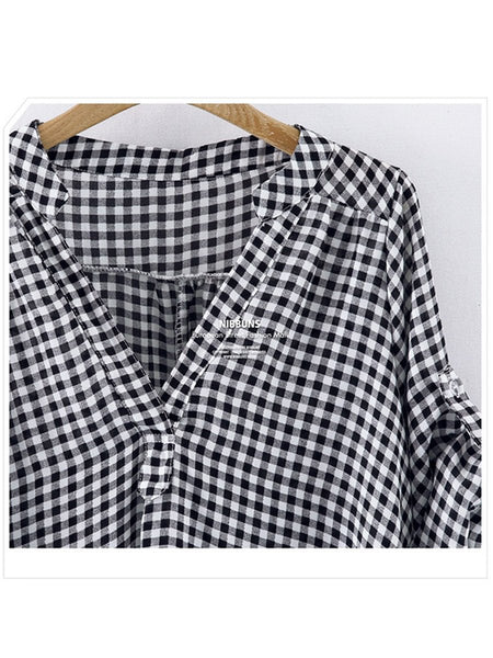 V-Neck  Plaid  Short Sleeve Plus Size T-Shirts