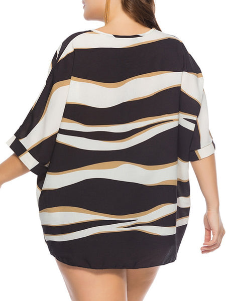 Round Neck  Abstract Print  Half Sleeve Plus Size T-Shirts