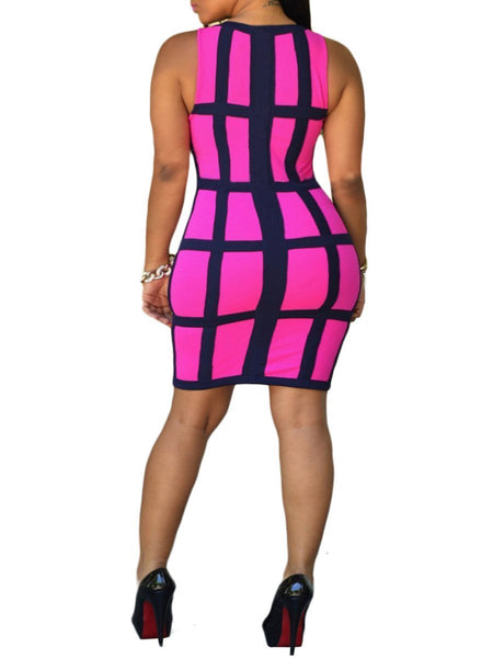 Round Neck  Plaid Plus Size Bodycon Dresses