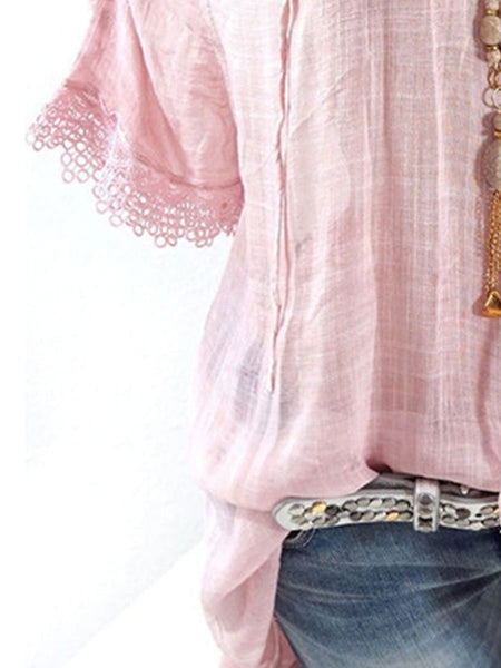 Spring Summer  Polyester  Women  Open Shoulder  Decorative Lace  Plain  Short Sleeve Blouse