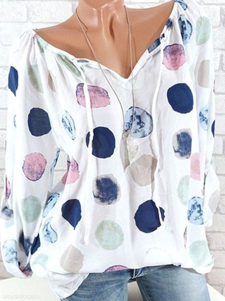 Women Tie Collar Polka Dot Long Sleeve Blouse
