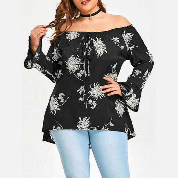 Open Shoulder  Drawstring  Printed  Bell Sleeve Plus Size Blouses